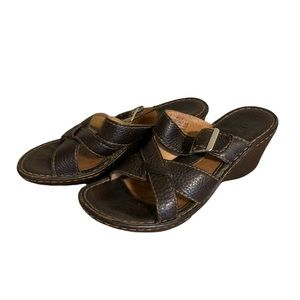 Born Leather Wedge Sandals - Women's Size 9 / 40.5